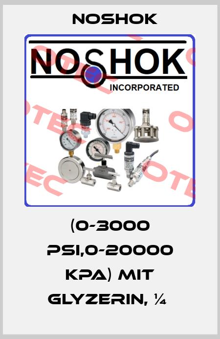Noshok-(0-3000 PSI,0-20000 KPA) MIT GLYZERIN, ¼  price